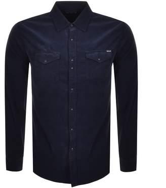 Replay Long Sleeved Corduroy Shirt Navy