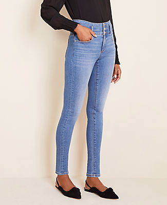 Ann Taylor Petite High Rise Sculpting Pocket Skinny Jeans in Light Stone Wash