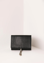 Missguided Mini Tassel Croc Clutch Bag Black