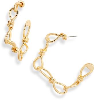 Karine Sultan Twisted Link Hoop Earrings