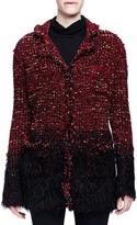 Lanvin Boucle-Knit Faux-Fur-Trimmed Coat