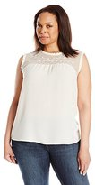Blu Pepper Women's Plus Size Sleeveless Tank Top with Lace and Embroidery