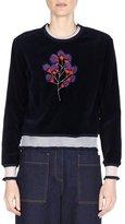Fendi Mink-Embroidered Cropped Sweater, Lapis Lazuli