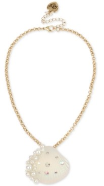 "Betsey Johnson Gold-Tone Pave & Imitation Pearl Seashell Pendant Necklace, 16"" + 3"" extender"