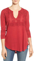 Lucky Brand Embellished & Embroidered Linen Blend Blouse