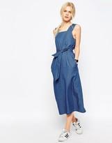 Asos Denim Belted Midi Dress In Mid-Wash Blue
