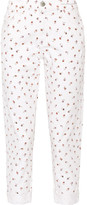 Current/Elliott The Fling Floral-print Mid-rise Slim Boyfriend Jeans - White