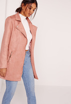Missguided Bonded Faux Suede Biker Coat Pink