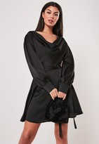 Missguided Black Cowl Neck Satin Skater Dress