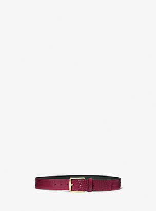 Michael Kors Crocodile Embossed Leather Waist Belt