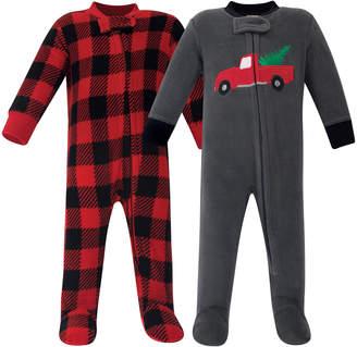 Hudson Baby Boys' Footies Christmas - Black & Red Check & Gray Car Fleece Footie Set - Newborn & Infant
