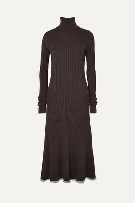 Jil Sander Two-tone Ribbed Fleece Wool-blend Turtleneck Midi Dress - Brown