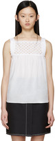 Carven White Cotton Eyelet Top