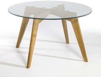 Am.pm. Kristal Glass/Solid Oak Round Table (Seats 6)