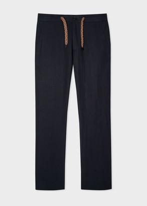 Paul Smith Men's Dark Navy Linen Trousers With Drawstring Waistband