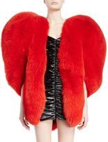 Saint Laurent Heart-Shaped Fur Cape, Red