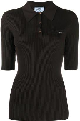 Prada Ribbed-Knit Polo Shirt