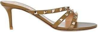 Valentino Rockstud Curved Leather Slide Sandals