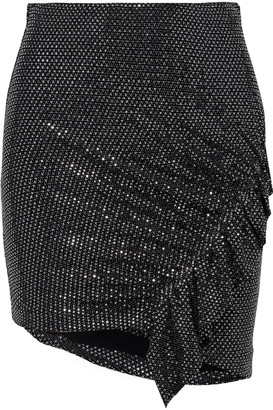 IRO Lilie Asymmetric Sequined Stretch-mesh Mini Skirt