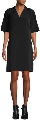 Lord & Taylor Pleated V-Neck Shift Dress