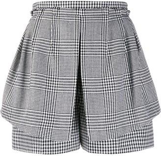 Alexander McQueen Layered Houndstooth Short Shorts