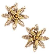 Miriam Haskell Flower-Shaped Clip-On Stud Earrings