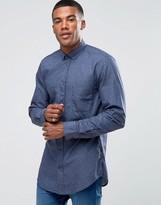 Boss Orange Elonge Longline Shirt Textured Print In Slim Fit