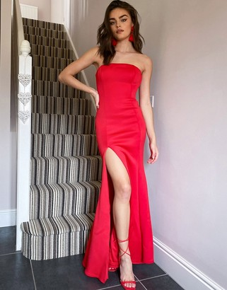True Violet Black Label structured bandeau fishtail maxi dress with thigh slit in red