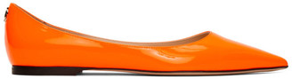 Jimmy Choo Orange Patent Love Flats
