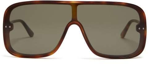 Bottega Veneta D Frame Acetate Sunglasses - Mens - Brown