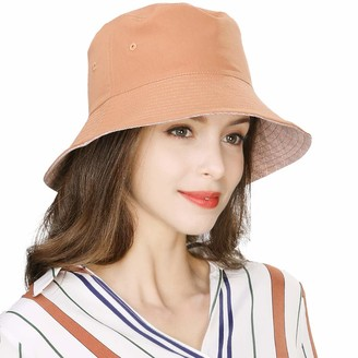 Fancet Packable Bucket Sun Reversible Hat SPF 50 for Women Hiking Fishing Caramel 56-59cm