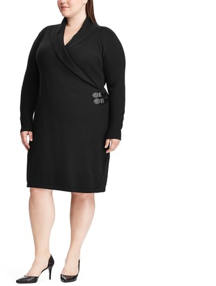 Chaps Plus Size Shawl-Collar Sweater Dress