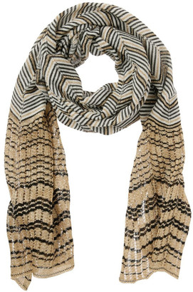 Missoni Multicolour Zigzag Knit Scarf - Gold