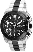 Invicta Pro Diver Men's Quartz Watch with Black Dial Chronograph Display and Two Tone Plated Stainless Steel Bracelet - 23408