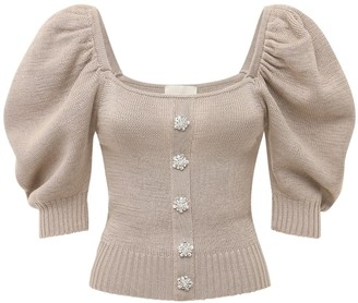 Giuseppe di Morabito Cotton Knit Top W/ Puff Sleeves