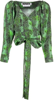 Rotate by Birger Christensen Snake Print Wrap-Tie Blouse
