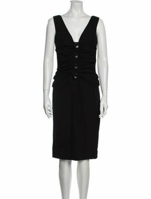 Dolce & Gabbana V-Neck Knee-Length Dress Black