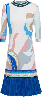 Emilio Pucci Faux Raffia-trimmed Embellished Printed Jersey Mini Dress