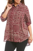 Intro Plus Long Roll-Tab Sleeve Button Front Printed Tunic