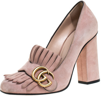 Gucci Light Pink Suede GG Marmont Fringe Pumps Size 36