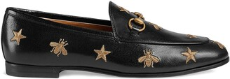 Gucci Black Gold Jordaan leather loafers