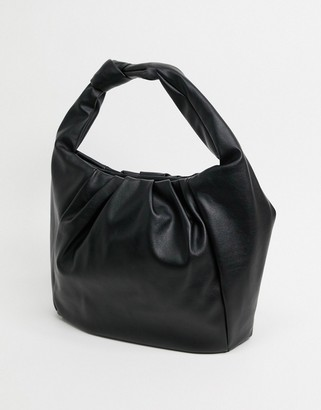ASOS DESIGN ruched oversized tote with knot handle in black