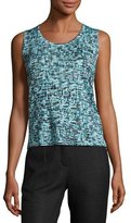 Escada Tweed Jacquard Scoop-Neck Tank, Bay