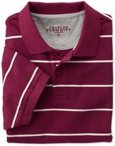 Charles Tyrwhitt Wine and white stripe pique polo
