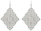 Nobrand No Brand Women's Diamond Shape Filigree Drop Earring - Silver