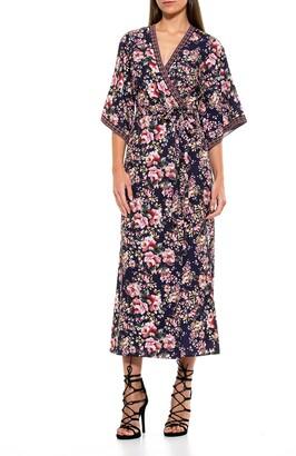 Alexia Admor Short Kimono Sleeve Print Wrap Dress