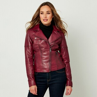 Joe Browns Leather Biker Jacket with Zip Fastening
