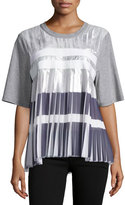 Public School Ezra Short-Sleeve Pleated Top, Gray