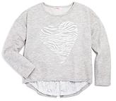 Design History Girls' Tiger Stripe Heart Pullover - Big Kid