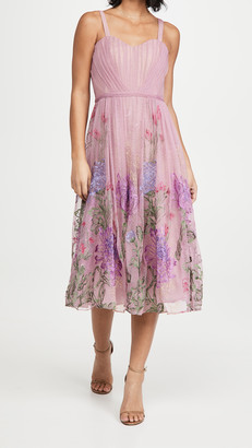 Marchesa Sleeveless Embroidered A-Line Gown